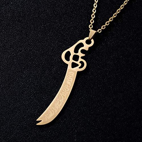 Imam Ali Schwert Muslim Islam Messer Anhänger Halskette Edelstahl Arabisch Für Männer Frauen Religiöser Schmuck 50Cm