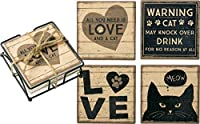 Primitives by Kathy Coaster Set All You Need Is Love And A Cat Kitchen Accessories [並行輸入品]