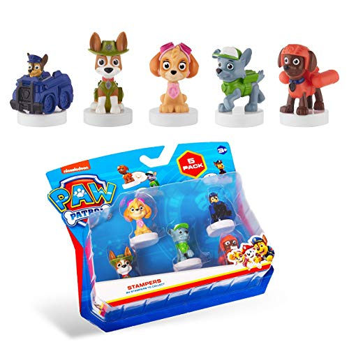 PAW Patrol Deluxe 5-Pack Figures with Stampers - Mess-Free, Preloaded Ink Technology in 7 Colors - Including PAW Patrol Chase and Rocky - Plastic Figurines Stand 2.5 to 3 in. Tall
