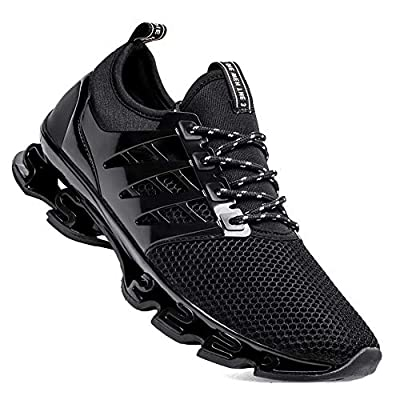 TSIODFO All Black Sneakers for Men mesh Breathable Comfort Fashion Sport Athletic Running Walking Shoes Man Runner Jogging Shoes Casual Tennis Trainers Size 13
