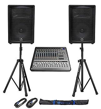 2  JBL Pro JRX212 12  2000w PA/DJ Speakers+Powered 14-Channel Mixer w/USB+Stands