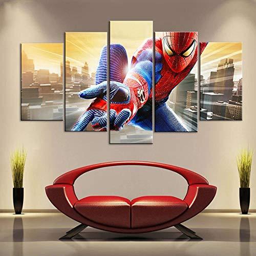 GSDFSD 5 pièces Photo sur Toile 5 Sets de Tableaux imprimés Haute définition Art déco Personnage de Spider Man Decoration Murale Salon Moderne 150X80 cm