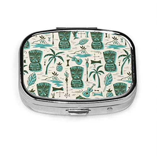 Tropical Tiki - Cream Personalized Square Pill Box Box Vitamin Container