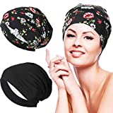 2 Pieces Silk Satin Lined Sleep Cap Hair Cover Bonnet Slouchy Hat Curly Hair Black (Flowers in Black Background)