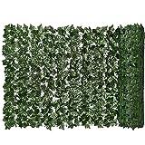 EElabper Seto Artificial Verde de la Hoja de imitación Ivy Valla de privacidad Pared Planta Falsa contexto de la Hierba Decorativa para el jardín al Aire Libre Balcón 0.5x3m