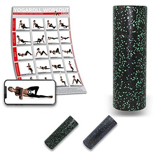 POWRX Faszienrolle inkl. Tragetasche & Workout I Foam Roller Massagerolle 45 x 15 cm I Triggerpunkt Selbstmassage versch. Farben Grün