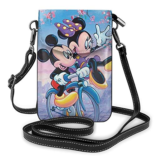 Mickey Mouse en una bicicleta bolso de teléfono pequeño Crossbody para las mujeres Mini bolsos de hombro cartera de teléfono móvil con ranuras para tarjetas de crédito