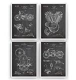 Harley Davidson Poster de Patente - Conjunto de 4 Impresiones - Patent Print Póster Con Diseños Patentes Decoración de Hogar Inventos Carteles - Marco No Incluido