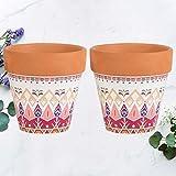 Yardwe - Vasetti di argilla in terracotta da 4 pollici, set di 2 vasi da vivaio con foro di drenaggio, mini vasi di fiori in argilla per la decorazione di davanzali di finestra da giardino