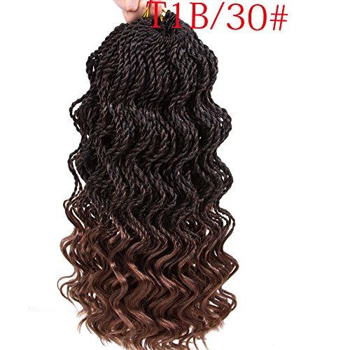 6 Packs senegalese twist crochet hair 14 inch crochet braids senegalese twist Synthetic Braiding Hair Extension (14.T1B/30) …