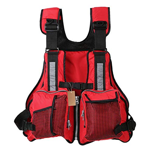 BENatural Fly Fishing Vest Multi Pockets Fishing Life Jacket Sailing Jacket Waistcoat with Floam for Pesca Utility Vest,Red