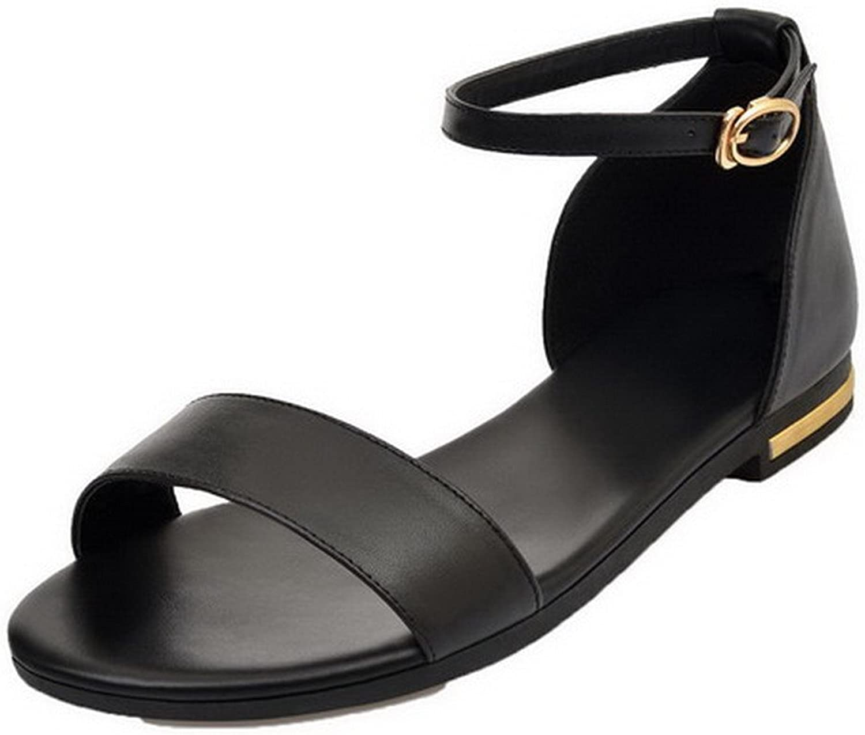 AmoonyFashion Women's Solid PU Low-Heels Buckle Sandals