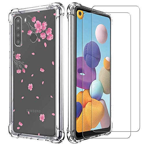 Samsung A21 Case, Samsung Galaxy A21 Case with Tempered Glass Screen Protector [2 Pack] Premium Clear Soft TPU Shockproof Protective Phone Case Cover for Samsung Galaxy A21 - Pink Flower