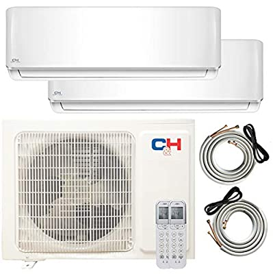 COOPER AND HUNTER Multi Zone Dual 2 Zone 9000 18000 Ductless Mini Split Air Conditioner Heat Pump Full Set WiFi Ready Energy Star