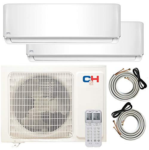 9000 Premium Quality COOPER AND HUNTER 2 Zone Mini Split Pre-Charged Dual Zone Mini Split Includes Two Free 25 Linesets 12000 Ductless Air Conditioner USA Parts /& Awesome Support