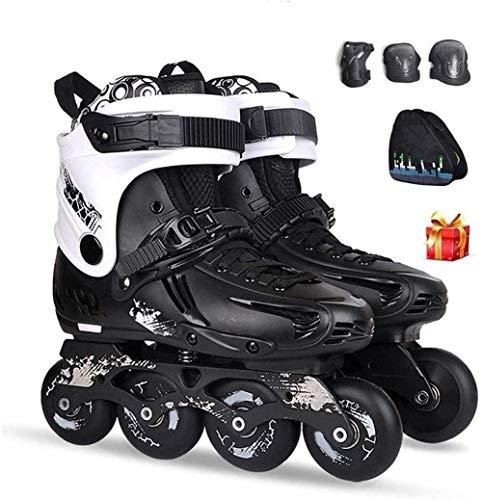 CAIFENG Verstellbare Inline Skates Speed-Inline Skates Semi-Solft Hohe Ankle Roller Schuh Inline Patine for Street Racing Kür, 2 Farben, Größe: EU 37US 5UK 4JP 23,5 cm, Farbe: Schwarz EIN