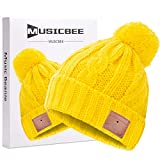 Bluetooth Beanie, MUSICBEE Bluetooth V5.0 Wireless Knit Winter Hats Cap with Detachable Built-in Mic and HD Stereo Speakers,Fleece Lining Suits for Outdoors Family & Gift-Unisex (Yellow)