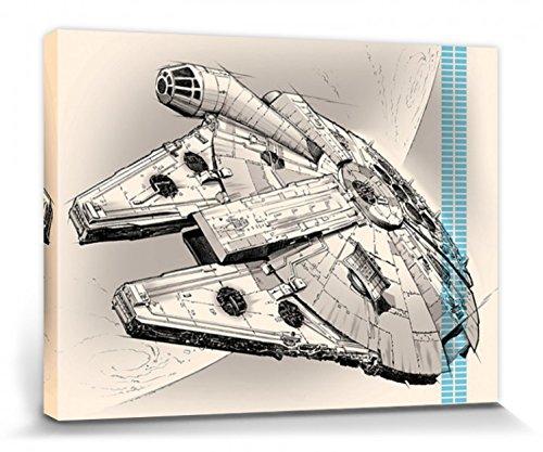 1art1 Star Wars - El Despertar De La Fuerza Episodio VII, Halcón Milenario Dibujo Cuadro, Lienzo Montado sobre Bastidor (80 x 60cm)