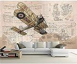 Custom Any Size Mural Wallpaper 3D Pintado a mano Dibujos animados Retro Avión Pintura de la pared Habitación de los niños Fondos de pantalla de fondo para niños-300cmx210cm (118.1x82.7inch) Papel tap