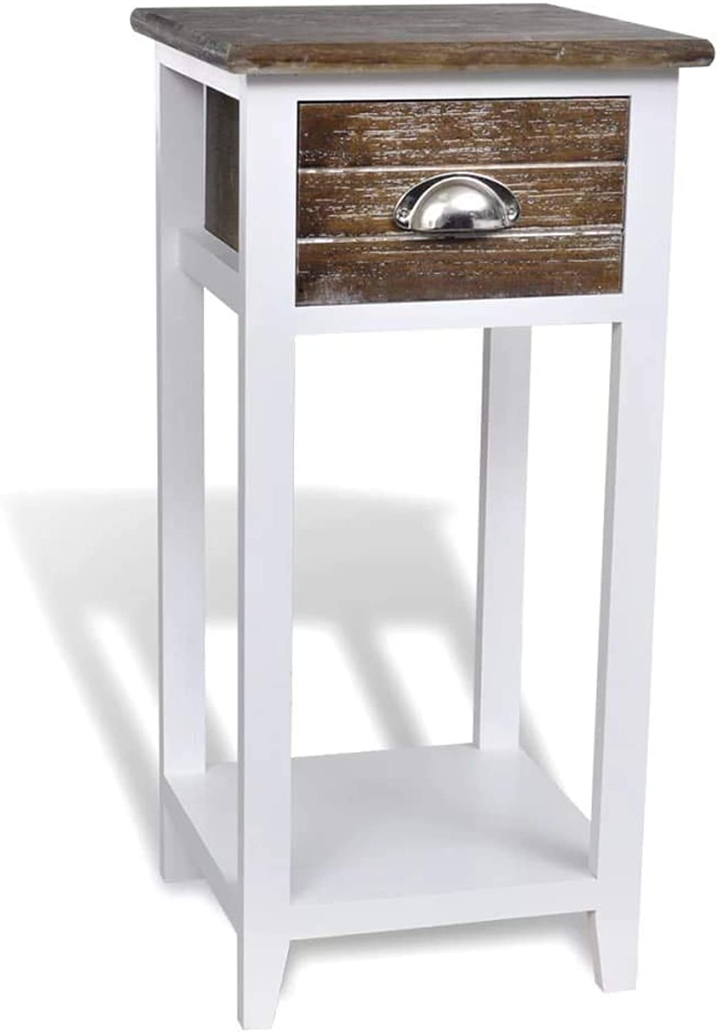 VidaXL Nightstand with 1 Drawer Brown and White Storage Bedside Table Cabinet