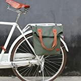 Nologo RQBHD Retro Bicycle Bag Bike Rear Seat Carrier Bags Vintage Cycling Pannier Bags Pack Green Waxed Canvas Waterproof Pouch