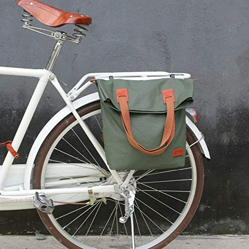 JSBHS Retro Bicycle Bag Bike Rear Seat Carrier Bags Vintage Cycling Pannier Bags Pack Green Waxed Canvas Waterproof Pouch