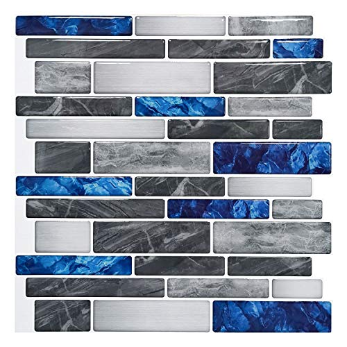 Art3d 10-Sheet Premium Self-Adhesive Kitchen Backsplash Tiles in Marble, 12'X12'