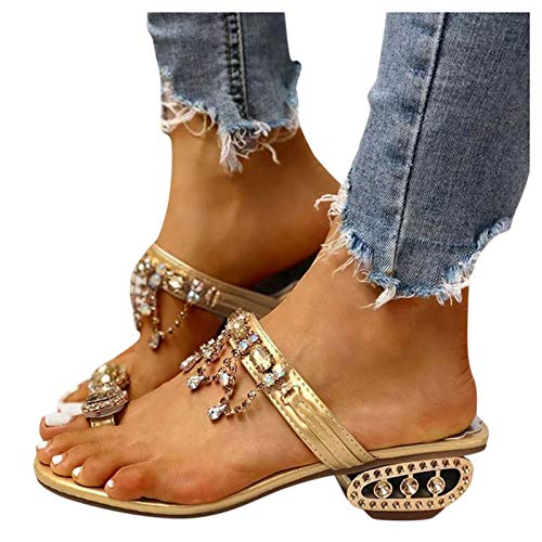 Sandalen Damen mit Absatz Dasongff Sommer Pumps High Heels Sandaletten Strass Elegante Pumps Glitzer Hausschuh Slipper Sandals Abendschuhe Flip Flops