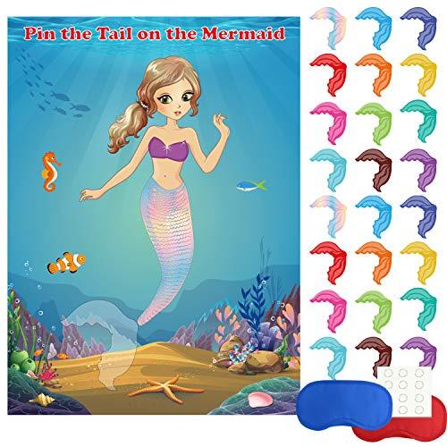FEPITO Meerjungfrau Party Lieferungen Pin The Tail auf der Meerjungfrau Party Spiel mit 24 Stück Schwanz Aufkleber für Meerjungfrau Party Favors, Kinder Geburtstag Party