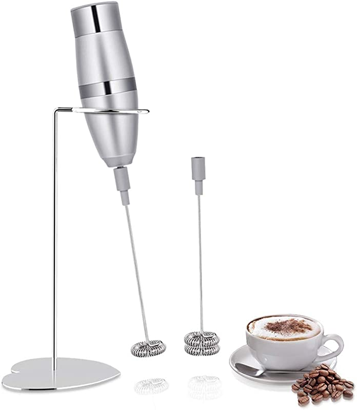 Milk Blender Milk Frother Electric Handheld Foam Maker For Making Lattes Coffee Cppuccinos Hot Chocolates As Creamer And Egg With Stainless Steel Stand