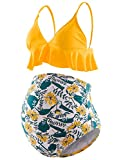Bhome Maternity Two Pieces Bikini Set High Waisted Bathing Suit Flounce Summer Beachwear Yellow Floral M