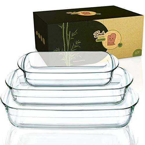 bambuswald© nachhaltige Ofenform aus Borosit-Glas   Bräter erhältlich in 3 Größen (1,6L 2,6L & 3,6L) - nachhaltig & langlebig - recheckige große Auflaufform ideal für Lasagne,Tiramisu & Aufläufe