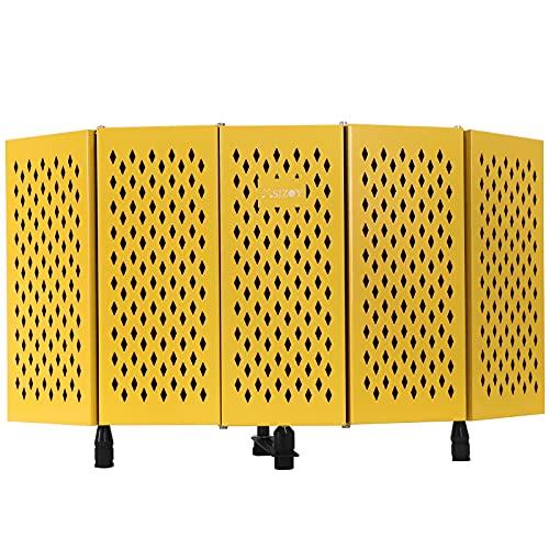 MSIZOY Escudo de aislamiento para micrófono profesional, protector de absorción de sonido vocal, portátil y plegable para grabación de estudio, transmisión, canto (amarillo