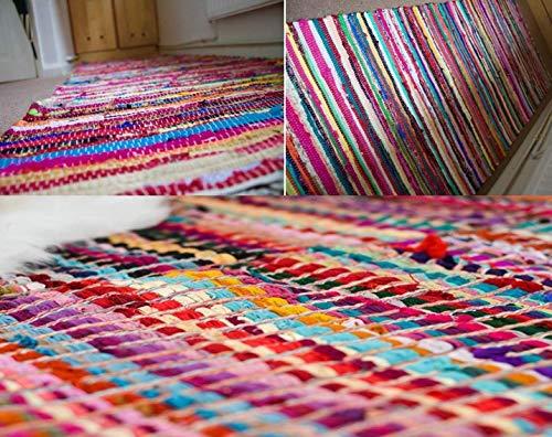 Houzgenius 100% Recycled Cotton Handmade Mat Multi Coloured Chindi Floor Rag Rug (120 X 180 CM)