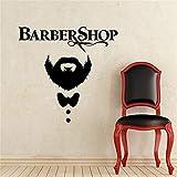 Coiffeur Stickers Muraux Vinyle Ciseaux Moustache Coupe De Cheveux Sticker Décor À La Maison Coiffeur Amovible Homme Salon De Beauté noir 42x42cm