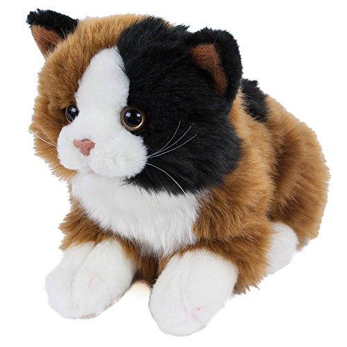 Plüschtier Katze Alma, 30 cm, Kuscheltier liegend, Plüsch braun/weiß/schwarz