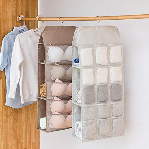 Aufbewahrungstascheunterwäsche Unterwäsche Aufbewahrungstasche Wandbehang Kleiderschrank Doppelseitige Hängende Tasche Finishing Schlafsack Socken BH Tasche Speicher Artefakt @ Large_15 Gitter Ro