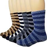 6 Pairs Mens Fuzzy Non-Slip Socks Microfiber Plush Socks Soft Sleeping Socks Striped Debra Weitzner