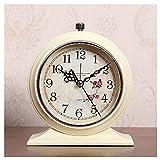 Lhl Reloj Despertador Retro, Metal con luz de Noche, Lindo Reloj de Escritorio Antiguo de Gran Volumen Redondo, para Dormitorio para niños Adultos (Color : White)