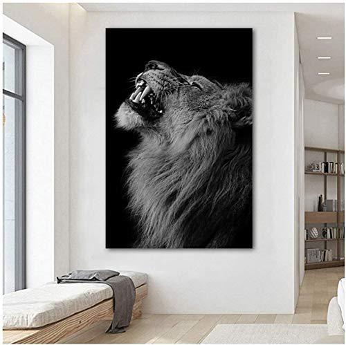 Surfilter Print auf Leinwand Löwe Tier Poster Schwarz Weiß Leinwand Malerei Wandkunst für Wohnzimmer Schlafzimmer Dekorativ 15.7& rdquo; x 23.6& rdquo; (40x60cm) Kein Rahmen 1