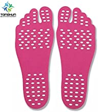 TONGKUN Invisible Beach Insoles Socks Seaside Foot Stick Pad Waterproof and Silica Gel Anti-Slip Design, Heat Protection, Prevent Cutting Suit for Swim Pool, Sand Volleyball, Sun Bath Spa(Pink) (M)