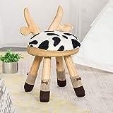 Banco de Zapatos Bench Parte Posterior del bebé de Protección Ambiental de los Ciervos Silla casera Animal de Madera Maciza de Zapatos Cambio Creativo pequeños taburetes