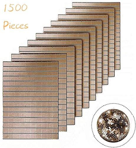 E-Vivo 1500 Stück 0,4 x 0,4 cm selbstklebende Mini-Spiegel-Mosaikfliesen, dekorative kleine Handarbeits-Spiegel-Mosaik-Aufkleber für DIY Handwerk Haushalt Wand & Decke Dekoration Rosenkugel