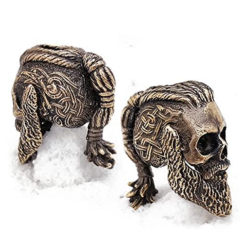 CooB 1Pcs/Lot EDC Paracord Bead Beads Pendant Charm Ragnar Lothbrok Skull Vikings DIY Beads for Paracord Bracelet, Knife Lanyard, Charm Zipper Pull ( Ragnar Bronze)