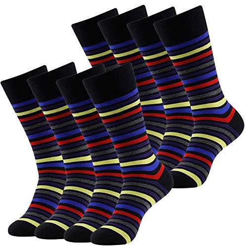LANDUNCIAGA Cotton Argyle Striped Solid Ribbed Black Crew Dress Socks 4 Pack