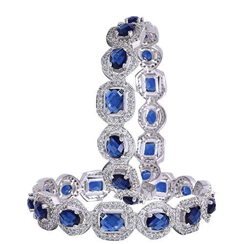 Ratnavali Jewels CZ Zirkonia Silber Tone Blauer Diamant Indische Armreifen Bollywood Schmuck Frauen