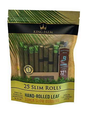 King Palm Slim Size Natural Pre Wrap Palm Leafs (1 Pack, 25 Rolls)