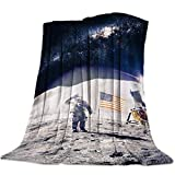 Ultra Soft Flannel Fleece Bed Blanket Outerine Space American Moon Landing Throw Blanket All Season Warm Fuzzy Light Weight Cozy Plush Blankets for Living Room/Bedroom 60' x 80'
