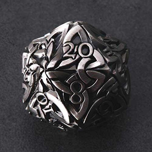 Endless Honor Dice (Silver) D20 Dice with Celtic Knots Solid Metal Extra Large Extra Heavy for DnD Dungeons and Dragon Call of Cthulhu Pathfinder Tabletop RPG Polyhedral Dice Fighter Blood Hunter Dice
