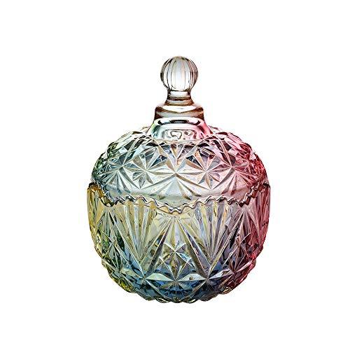 Acyoung Zuckerdose mit Deckel, Glas Deco Kristall Glasdose Glasbehälter für Snacks (Large, Glasfarbe)